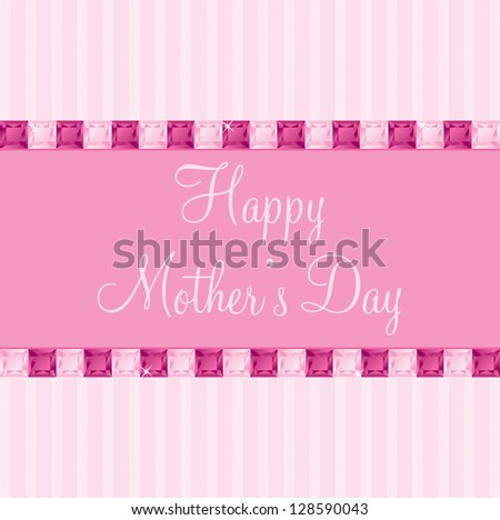 Pink two toned Mother's Day gem card in vector format.