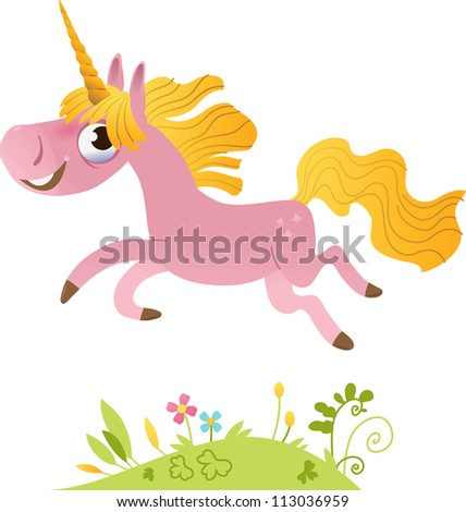 pink unicorn is jumping over