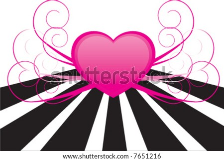 Pink valentine heart on black and white stripes. - stock vector