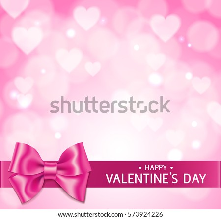Pink Valentine's Day love background with blur hearts, bow and horizontal ribbon. Happy Valentine's Day text  stock photo
