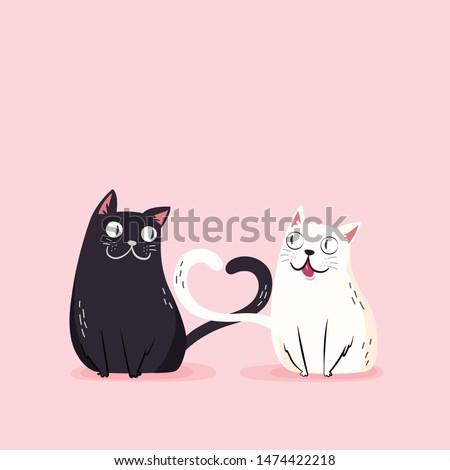 pink valentines cat couple love