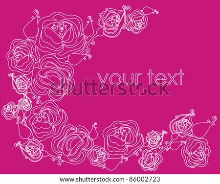 Pink vector background with ornamental  rose flowers for greeting card, invitation