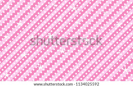 Pink vector background with stripes and polka dots. Cute rose backdrop for decoration girly party. Wrapper paper design for little princess. Beautiful light abstract pattern for kids invitation