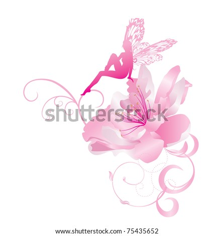 pink vector corner flower with fairy with butterfly wings sitting