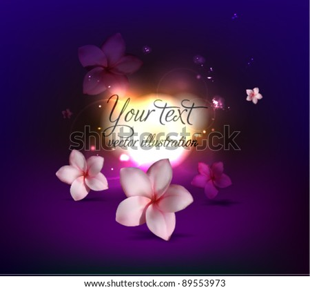 Pink vector flowers on colorful background / Vector background - layout