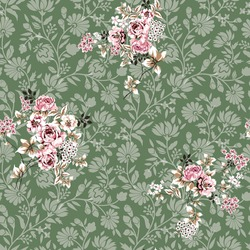 pink vector flowers with leaves pattern on seamless green background