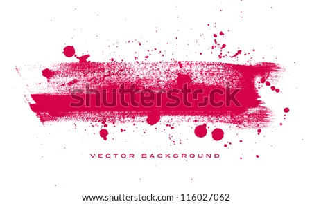 Pink vector grungy brush stroke hand painted background with paint splatter