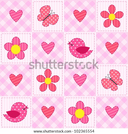 Pink vector seamless pattern with birds, flowers and hearts