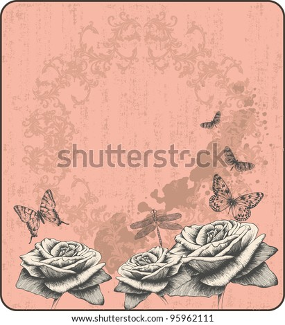 Pink vintage background with decorative butterflies and roses, hand-drawing. Vector.