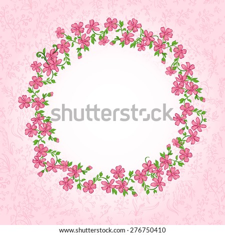 Pink Vintage card with floral circle and place for your text.