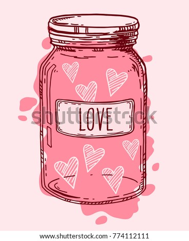 pink vintage glass jar full of