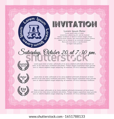 Pink Vintage invitation. Money Pattern design. With linear background. Customizable, Easy to edit and change colors.