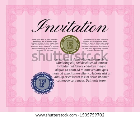 Pink Vintage invitation template. Customizable, Easy to edit and change colors. Printer friendly. Artistry design.