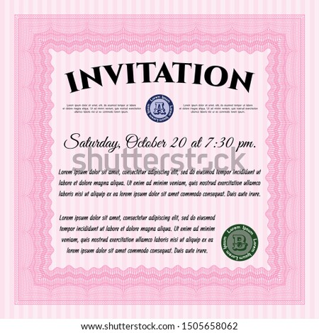 Pink Vintage invitation template. Modern design. With linear background. Customizable, Easy to edit and change colors.