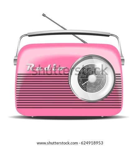 Pink Vintage Radio. Vector illustration
