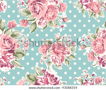 pink vintage rose pattern on green background - stock vector