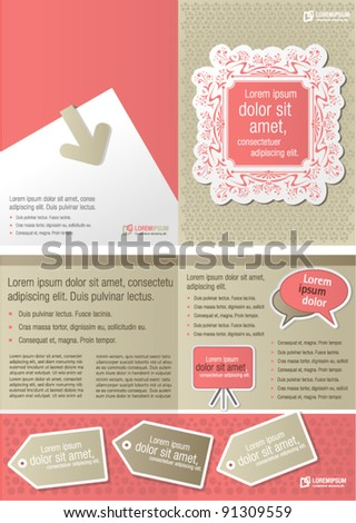 Pink vintage template for advertising brochure - stock vector