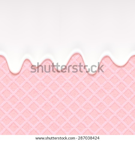 pink wafer and flowing white