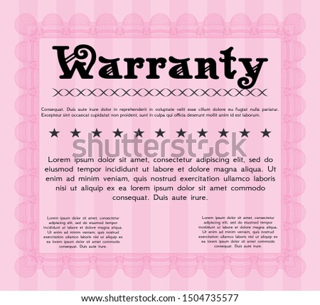 Pink Warranty. With guilloche pattern and background. Customizable, Easy to edit and change colors. Cordial design.