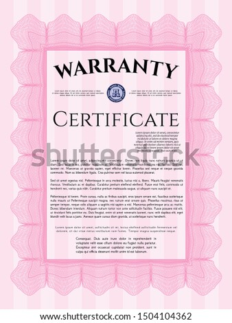 Pink Warranty. With linear background. Customizable, Easy to edit and change colors. Money design.