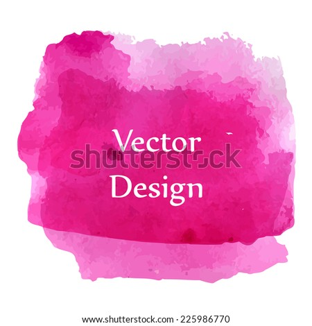 Pink watercolor abstract shape banner background. Vector illustration.
