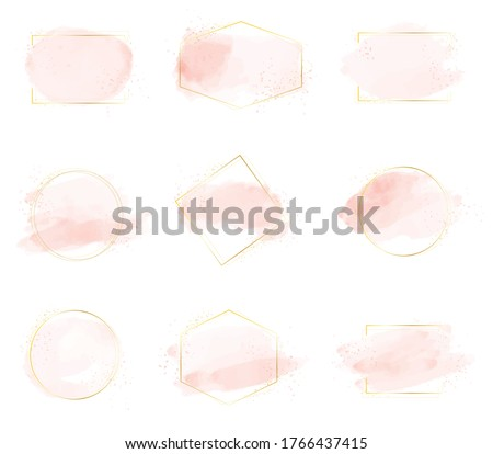 pink watercolor brush stroke splash with luxury golden frame and glitter for banner or logo collection