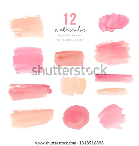Pink watercolor splotches for design