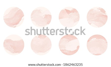 Pink watercolor story highlight cover icons. Set of abstract pastel pink watercolor circles design. Highlight cover for social media stories Foto stock ©