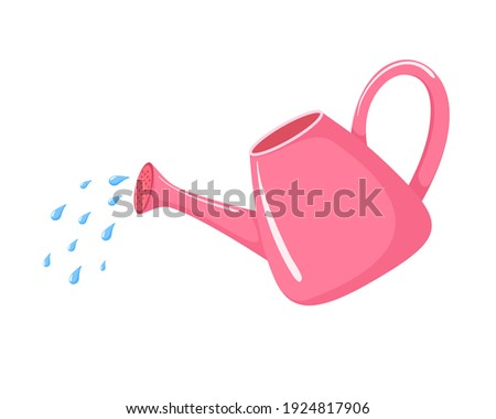 Pink watering can icon cartoon. Waters from a watering can vector illustration isolated on white background. Gardening element clipart  Foto stock ©