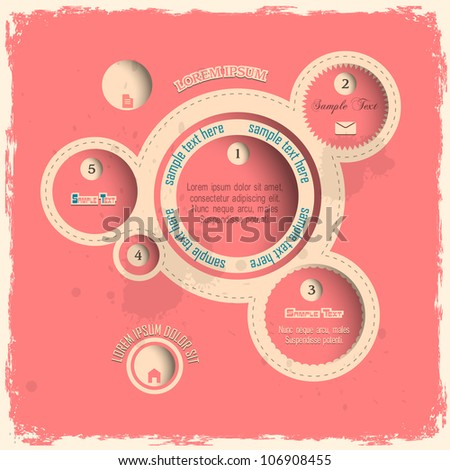 Pink web design bubbles in vintage style. Vector template
