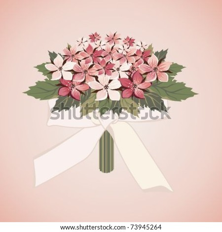 stock vector Pink wedding bouquet with a bow