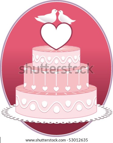 stock vector Pink wedding cake with hearts and doves