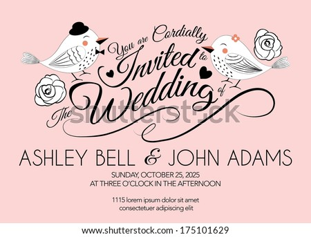 Pink Wedding Invitation Card with Bird in Vector