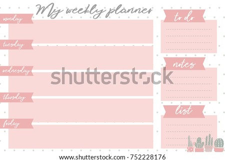 pink weekly planner with sweet...