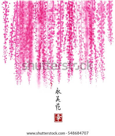 pink wisteria hand drawn with