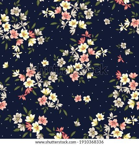 pink yellow and brown small vector flowers with green leaves pattern on navy background