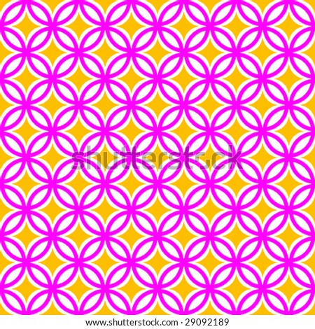 Pink & Yellow Diamond & Circle Repeating Background