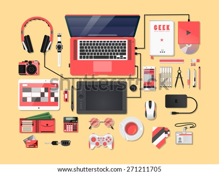 Pinkies Complete modern vector illustration concept of creative office workspace. Top view of desk background with laptop, digital devices, office objects, books and documents.