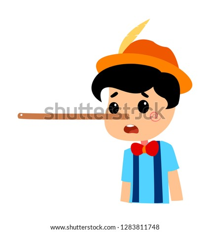 Pinocchio Tale Vectoral Illustration. Long Nose. For Children Book Covers, Magazines, Web Pages.