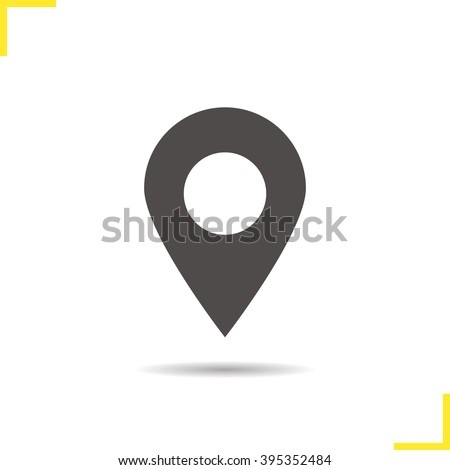 Pinpoint icon. Drop shadow geolocation mark silhouette symbol. Location map pointer. Vector place marker isolated illustration