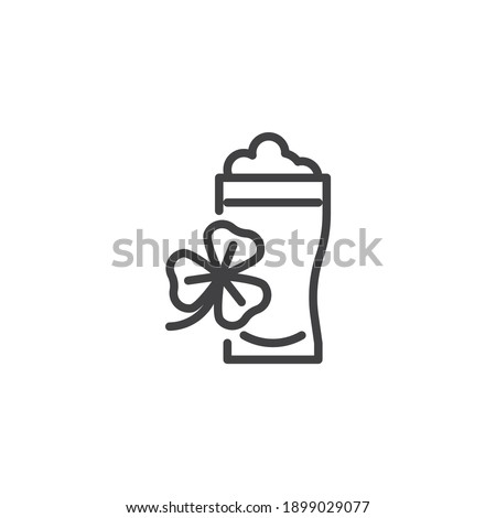 Pint beer and clover line icon. linear style sign for mobile concept and web design. Glass of beer and clover leaves outline vector icon. Saint patrick`s day symbol, logo illustration. Vector graphics Stock photo ©