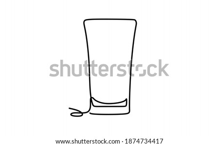 Pint glass. Continuous one line drawing Stock fotó ©