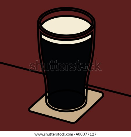 pint of dark beer vector bold