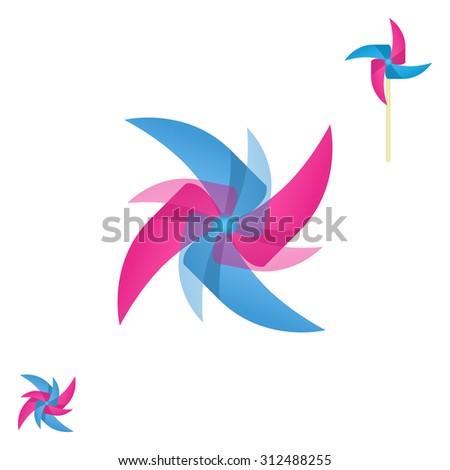 Pinwheel rotating icon, abstract shape logo, 3d vector, eps 10