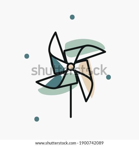 Pinwheel toy illustration, three-color icon. Childhood, imagination concept for branding, website elements, logo Foto stock ©