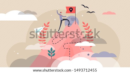 Pioneer vector illustration. Flat tiny first exploration persons concept. Abstract innovation path visualization. Adventurous business strategy for new field research. Discovery expedition celebration