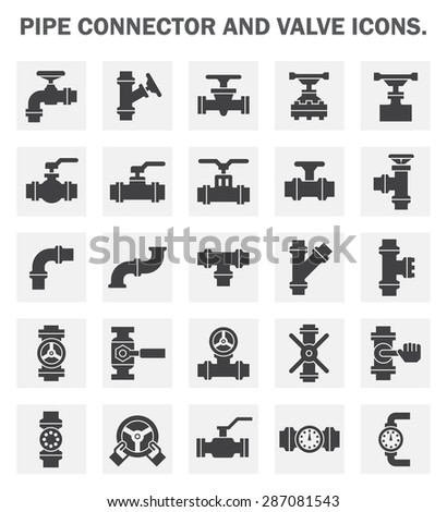 pipe connector and valve icons