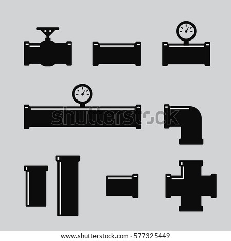 Pipe fittings vector icons set. Tube industry, construction pipeline, drain system. Pipe fittings vector