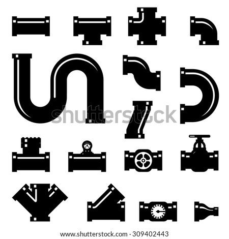 Pipe fittings vector icons set. Tube industry, construction pipeline, drain system, vector illustration