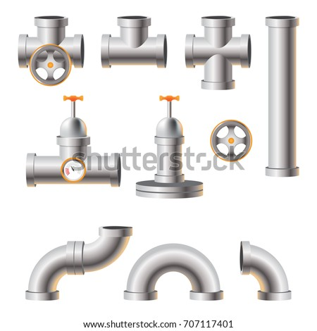 pipe for chemical oil and gas industry.  plumbing, heating and sewer pipe.  Set of industrial steel pipes. Stainless Steel Pipe Production. pipeline vector set design isolated on white background.